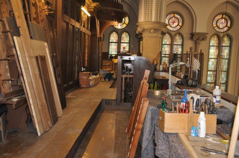 Die Orgelempore - derzeit Großbaustelle